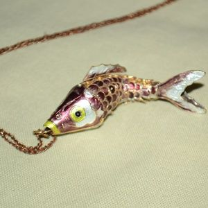 Stunning Painted Fish Animal Statement Necklace